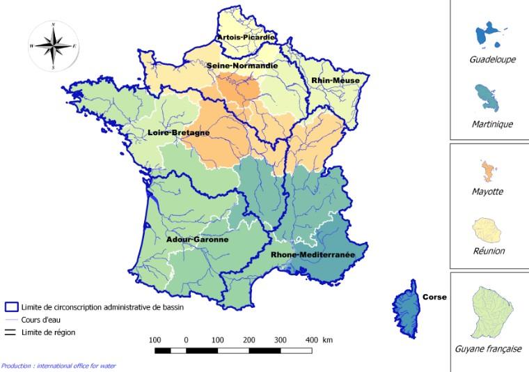 Limite des circonscriptions administratives des bassins versants en France
