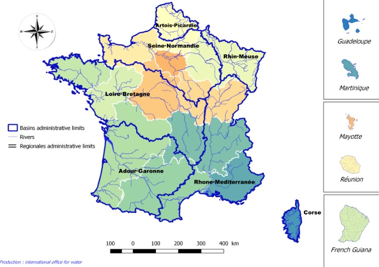 Water basins administrative limits in France