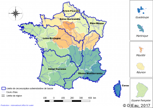 Limite des circonscriptions administratives des bassins versants en France
