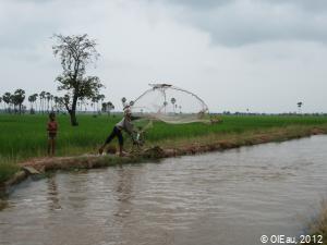 Pêche sur un canal de réseau d'irrigation - Cambodge